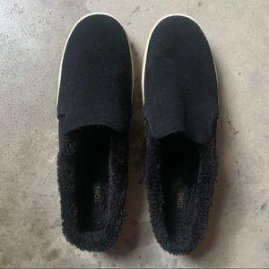 Toms Sunrise Leather fur slip on clog loafer. 12
